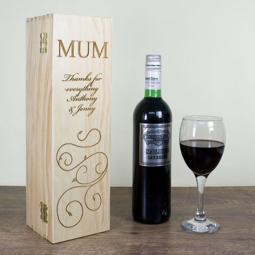 Personalised Mother's Day Wine Box With Swirls